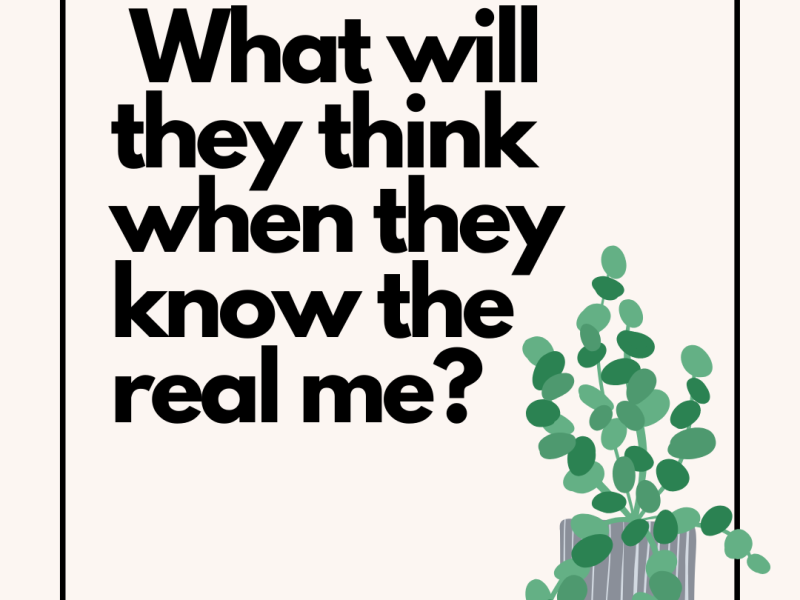 What will they think when they know the real me? on pink background with a green plant in the corner
